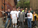 At lunchtime, Mayor Mark Mallory stopped by to pose with the SiOS crew at Peete Alley.