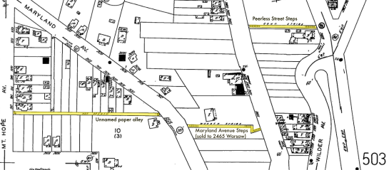 Stairways and alley highlighted upon Sanborn 1904-50 (Source: Ohio Web Library)